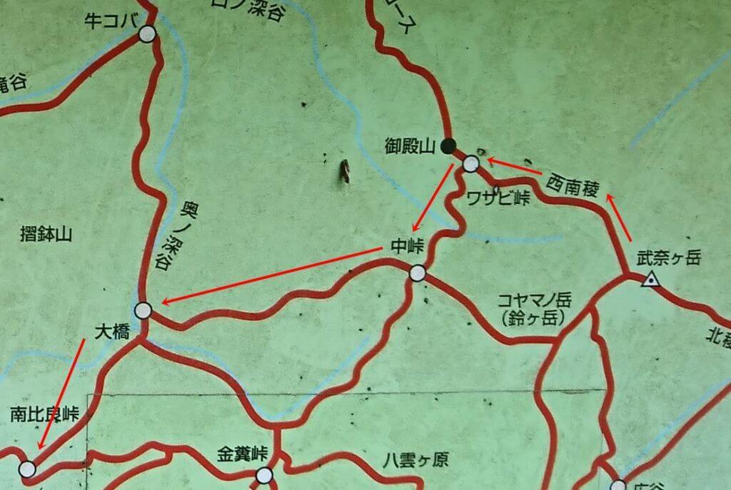 武奈ヶ岳山頂からの地図